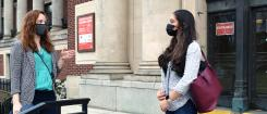 Caitlin McVay speaks with Stephanie Hasan outside of the Memorial Union