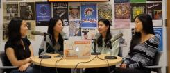 Four students recording the Making Waves podcast
